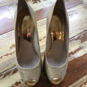 Michael Kors Gold Formal Platform Sexy Heels
